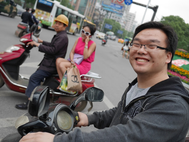man on motorbike in Hengyang, China