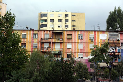 Colorful communist buildings in Tirana Albania