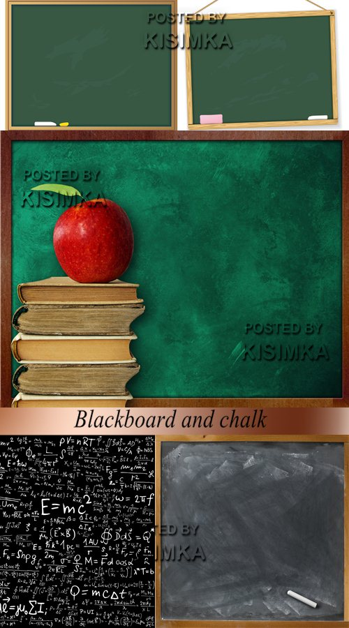 Stock Photo: Blackboard and chalk