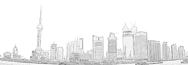 shanghai skyline sketch