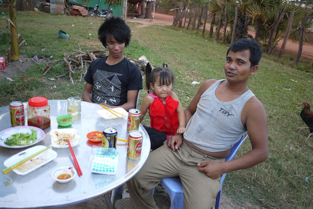 Cambodians enjoying food and drinks