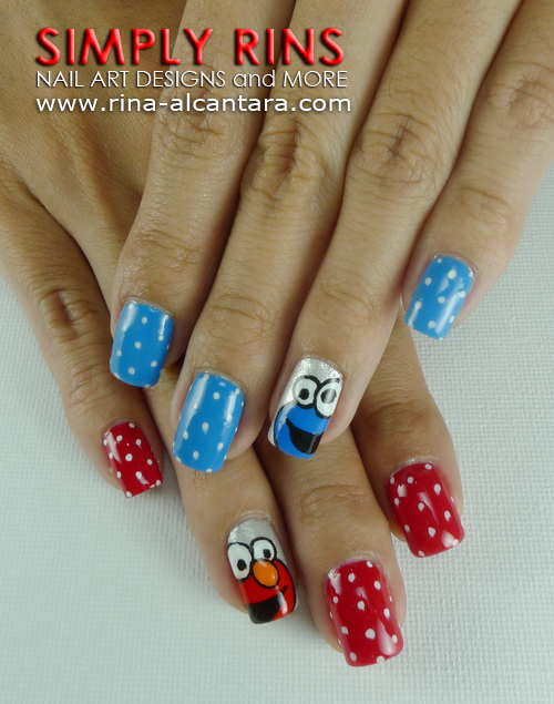 Cookie Monster and Elmo Nail Art Design
