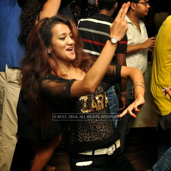 A guest during the Saturday night at Underground in Kolkata.