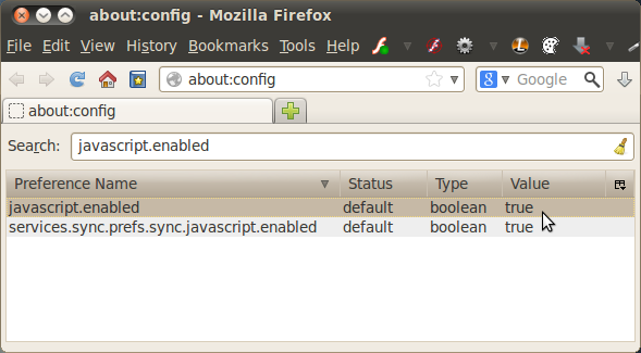 Enable Javascript in FF 23