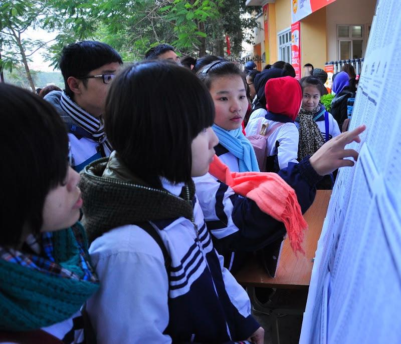 Các thí sinh xem lại số báo danh của mình
