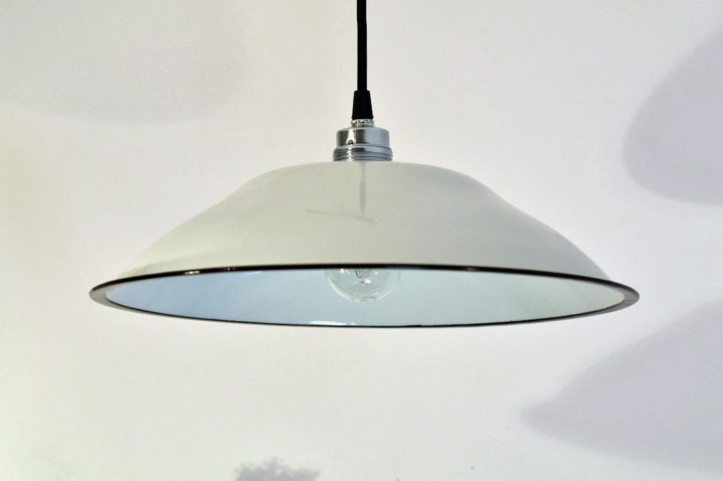 fabriklampe wei 37cm emaillelampe lampe emaille skandinavien loft enamel ebay. Black Bedroom Furniture Sets. Home Design Ideas