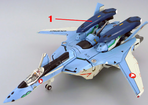 Macross VF-X2 VF-19A VF-X Ravens Excalibur with Super Pack Armament weapon position