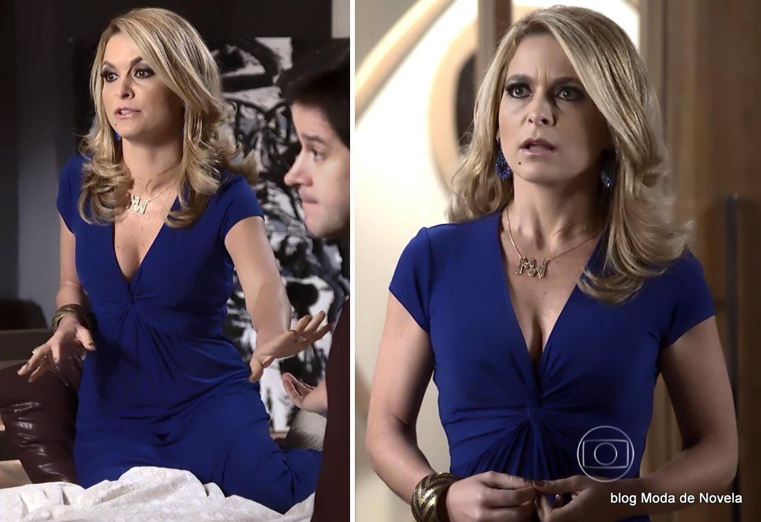 moda da novela Geração Brasil - look da Pamela com vestido azul dia 2 de julho