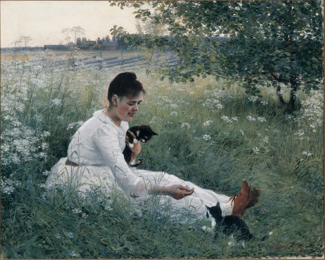 Elin Danielson-Gambogi - Girl with cats in a summer landscape