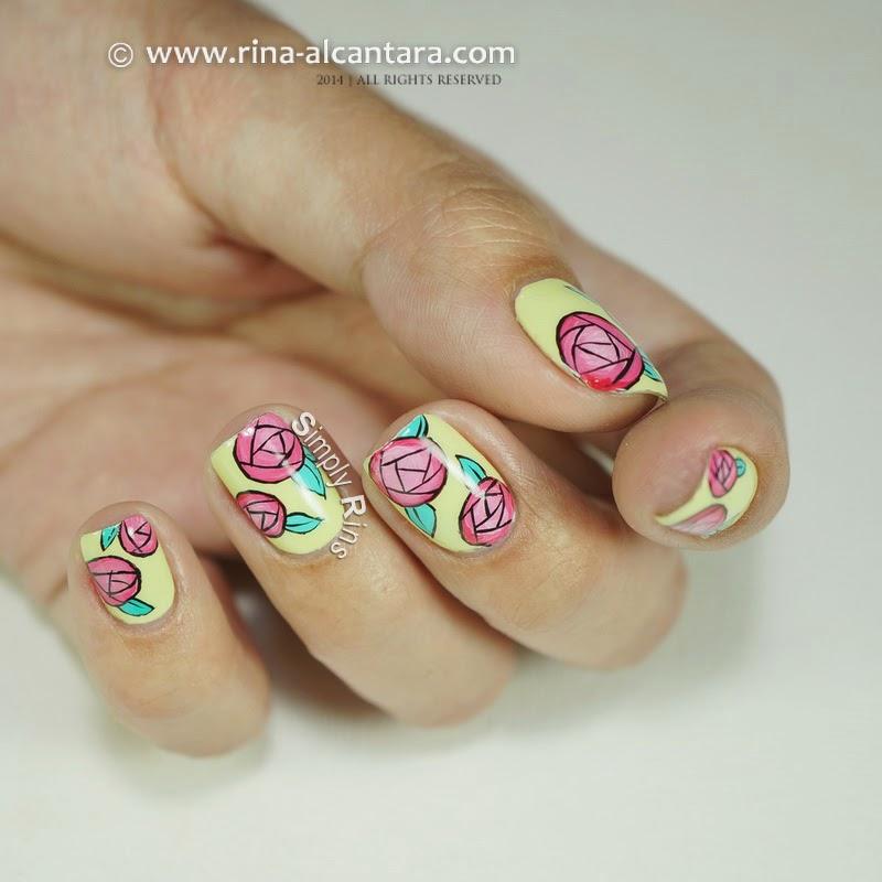 Paper Roses Nail Art