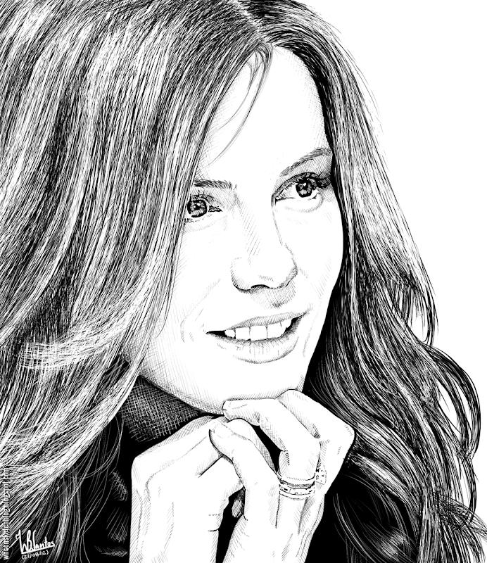 Ink drawing of Kate Beckinsale, using Krita 2.4.