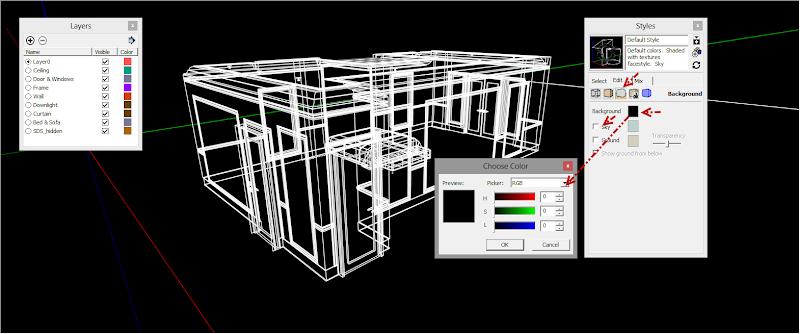 SketchUp - กำหนดการแสดงผลของ SketchUp ให้เหมือนกับการทำงานบน AutoCAD Sutocad05