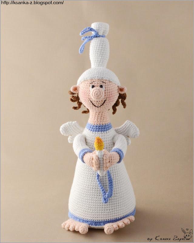 вязаная кукла, амигуруми, игрушка новогодняя, вязаный ангел, кукла крючком