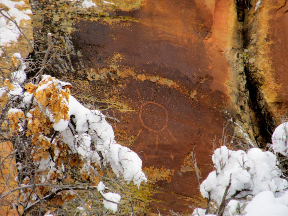 Sun petroglyph spotted from the road