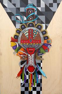 """Native Tongues, Acrylic, gold eyelets, nylon laces on wood, 20"""" x 30"""", $3,000"""