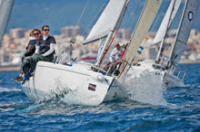 J/80 one-designs sailing off Palma Mallorca, Spain