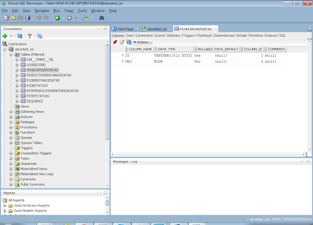 JBatch Database Table View in SQLDeveloper
