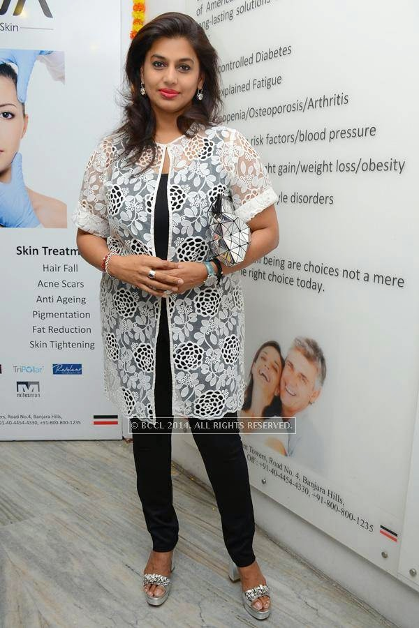 Pinky Reddy poses during a book launch.
