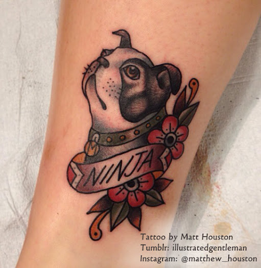 American Traditional Dog Tattoo