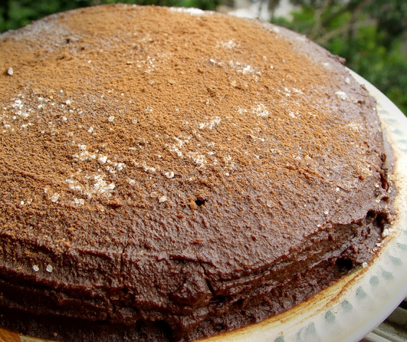 Chocolate Cake with Raw Almond Frosting
