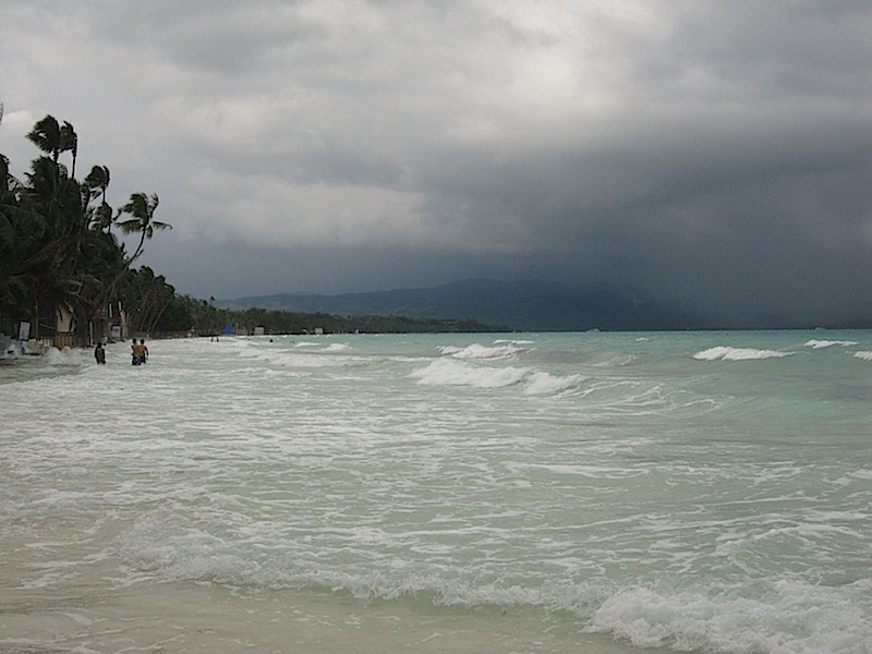 high tide at Boracay during the monsoon season