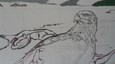Work in Progress, Sketch on canvas. Source shows close up of Resting white-tailed eagle.