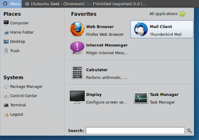 MintMenu running on Xubuntu