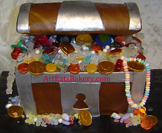 Treasure chest custom birthday cake with candy treasure and coins