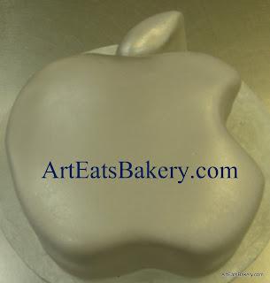 Creative custom unique silver fondant Apple logo birthday cake design idea picture