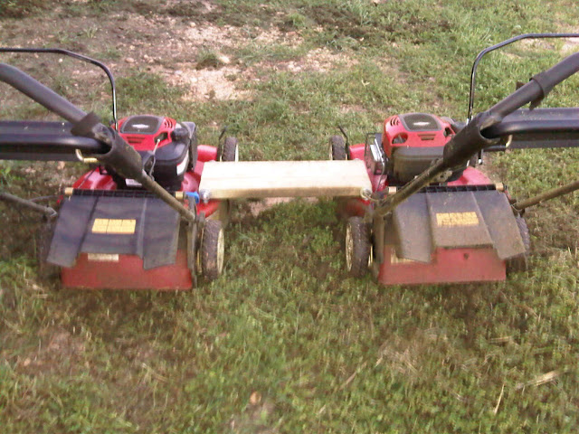 Ganging 2 push mowers (walk behind) more mower for low cost