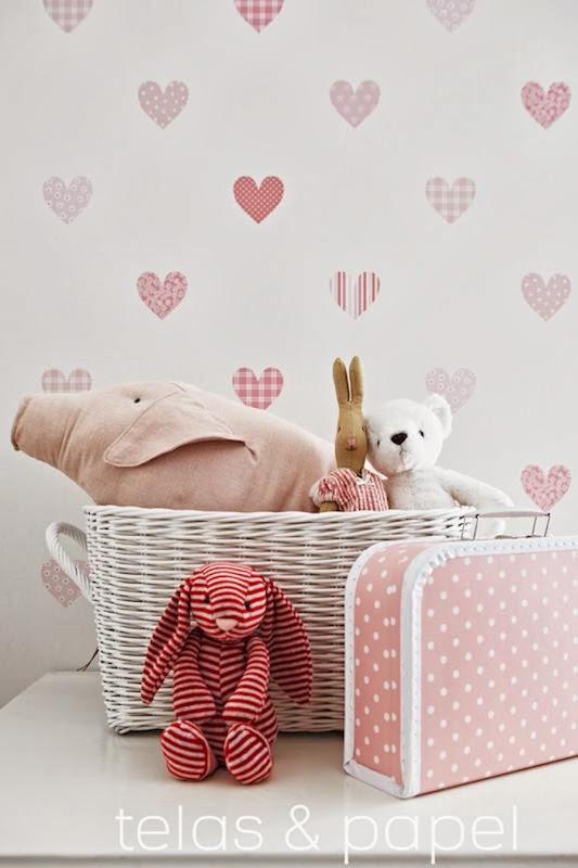 Tienda online telas papel papel pintado con corazones - Vinilos bonitos ...