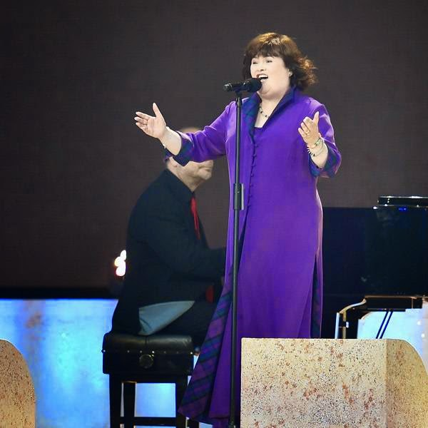 Singer Susan Boyle performs during the opening ceremony of the 2014 Commonwealth Games at Celtic Park in Glasgow on July 23, 2014.
