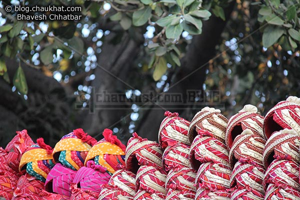 Turbans on sale in the market of Jaipur Wall City