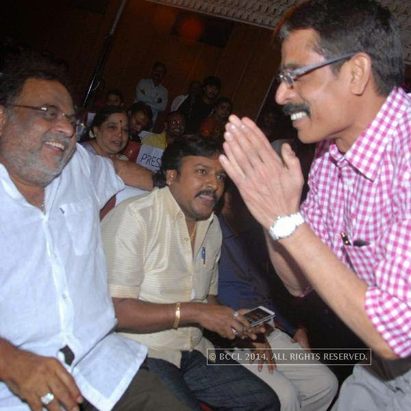 Ambareesh and Lahari Velu at the silver disc release of the film E Dil Helide Nee Bekanta, in Hyderabad.