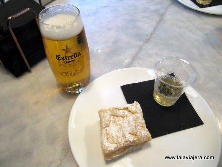 Miguelito de queso con chupito de sidra en el Gastrobar Sexto Sentido de Albacete