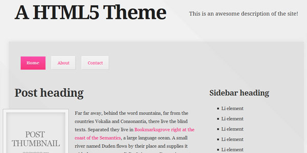 A free HTML5 and CSS3 theme