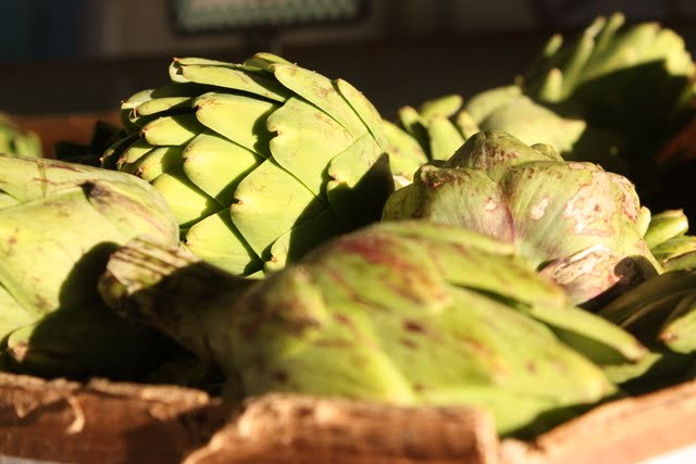 Artichokes at a farm stand in Half Moon Bay California