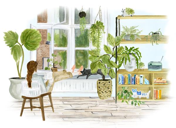 Houseplant Overload, Kate Wong | stripedcatstudio.com