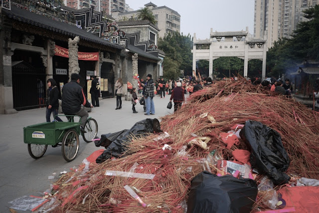 pile of trash at Guangzhou's Renwei Taoist Temple