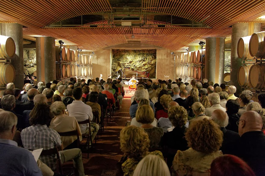 The wine cellar of the ColleMassari estate during a concert of the Amiata Piano festival