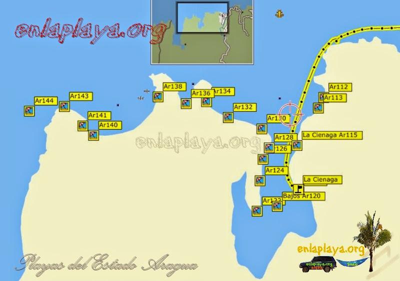 Mapa de Playas sector La Cienaga, Venezuela