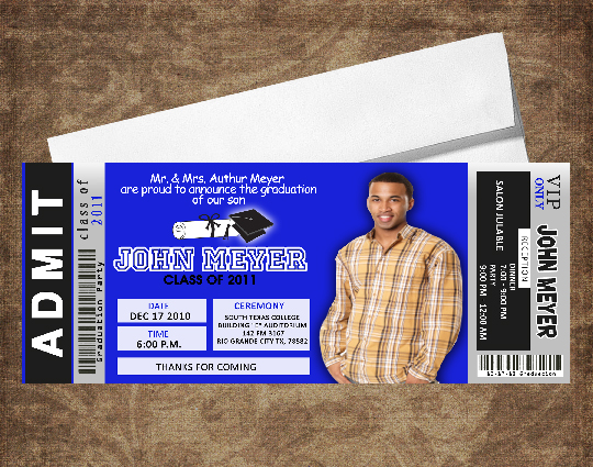 Event Photo Cards: Graduation Invitations Ticket Style