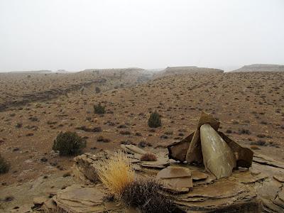 A cairn (and apparently also a bird perch) atop a ridge