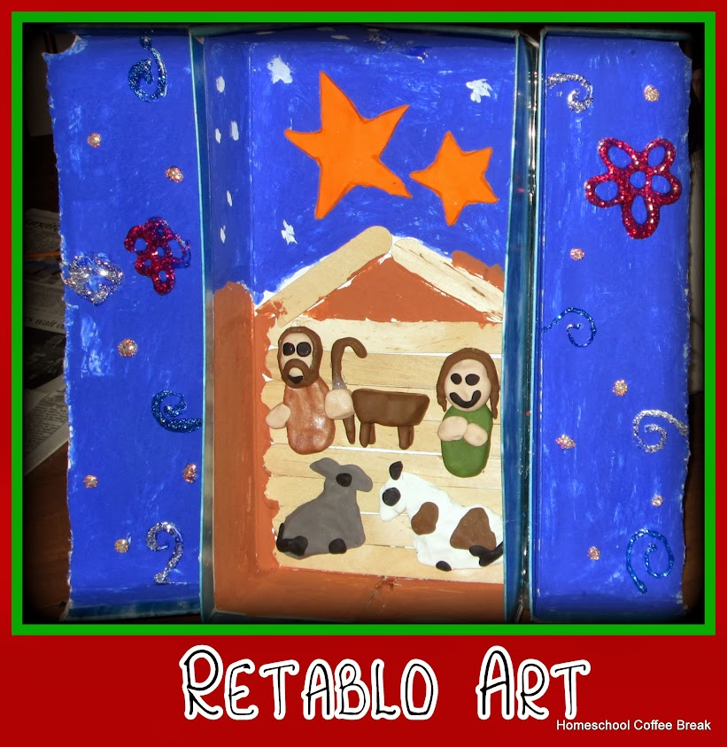 Retablo Art - Wreath and Retablo for the Holidays on the Virtual Refrigerator, an art link-up hosted by Homeschool Coffee Break @ kympossibleblog.blogspot.com