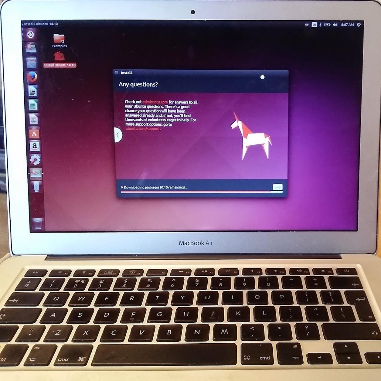 The Ubuntu installer on my MacBook air