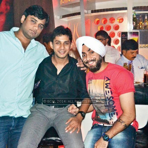 Gaurav Gajwani, Akash and Luvgagan during a party thrown by Sumit Chawla and Raveena in Kanpur.