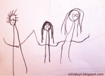 Neljävuotiaan lapsen piirustus ystävistä, perheestä - Four-year-old child's drawing of friends, family