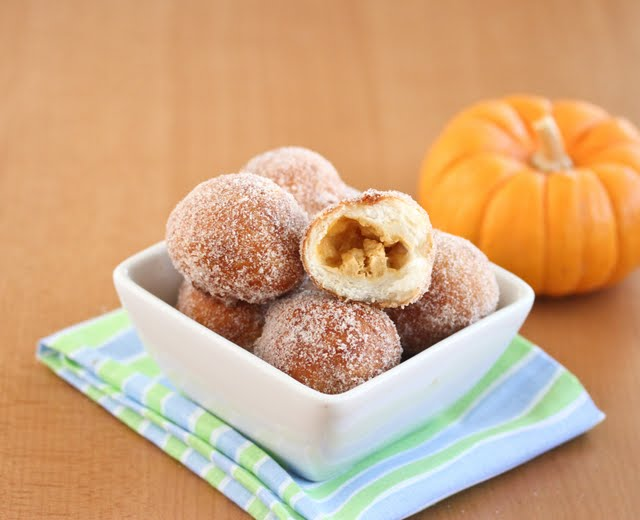 Pumpkin Cheesecake Filled Donut Holes