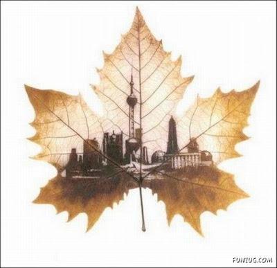 انقش صــورة تحــب الشجــر.. غاية الروعة leaf_painting_art_07