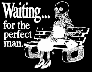 female skeleton sitting on a bus stop holding a sign that says she is waiting for the perfect man